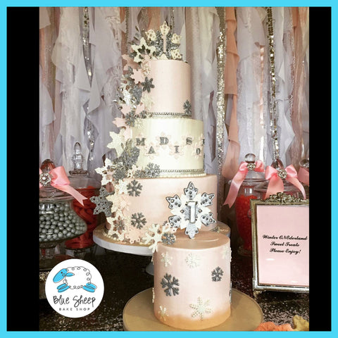 three tiered buttercream snowflake cake nj
