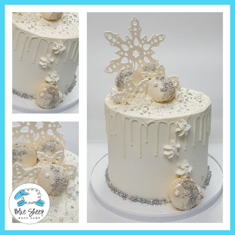 winter wonderland wedding cake with jeweled macarons nj