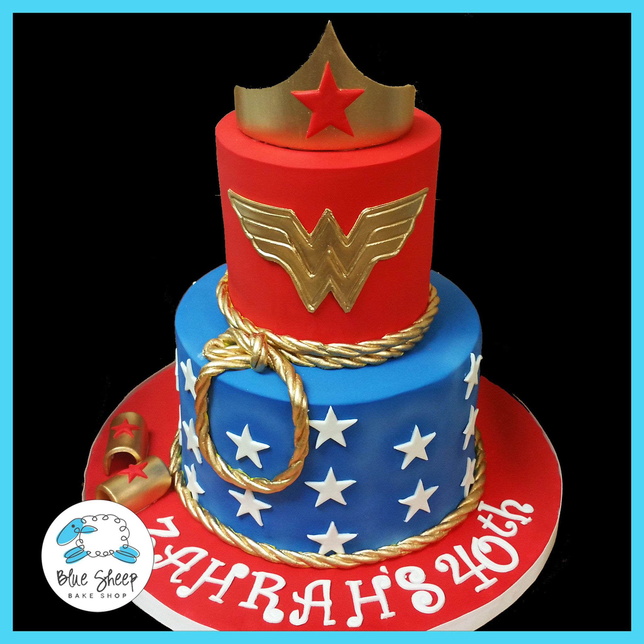 Wonder Woman Birthday Cake Blue Sheep Bake Shop