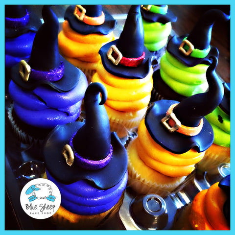 spooky witch hat halloween cupcakes