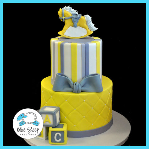 Grey & Yellow Rocking Horse Baby Shower Cake