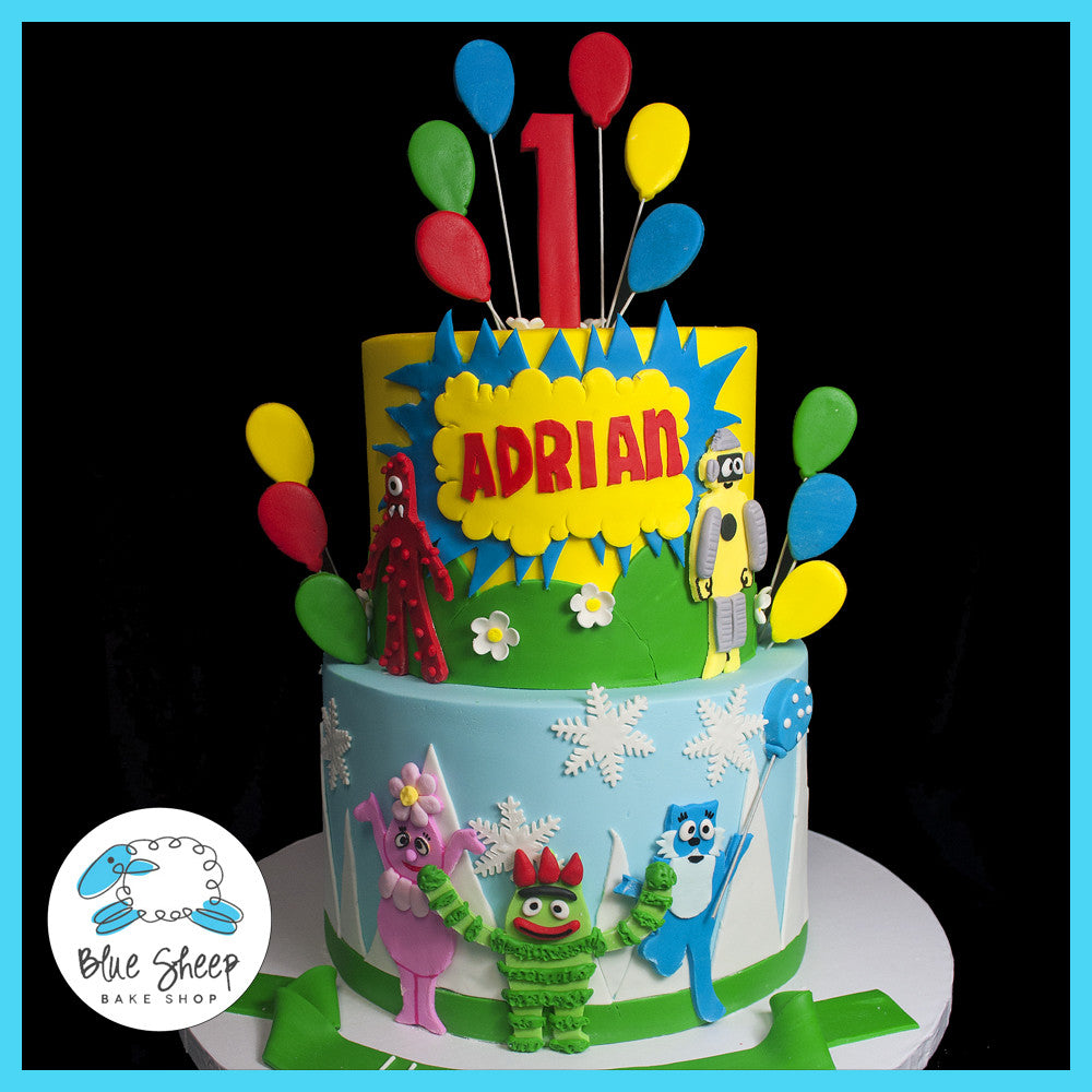 Awesome Adrians Yo Gabba Gabba 1St Birthday Cake Blue Sheep Bake Shop Personalised Birthday Cards Sponlily Jamesorg