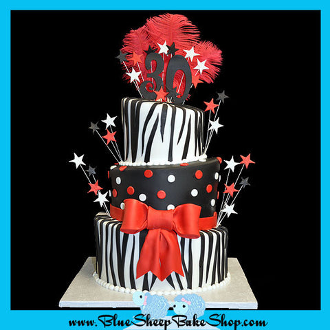30th Birthday Zebra Topsy Turvy Cake