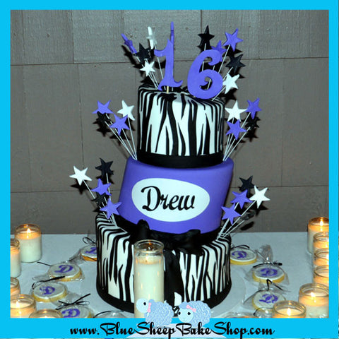 topsy turvy purple and zebra sweet 16 cake with tye dyed cake batter