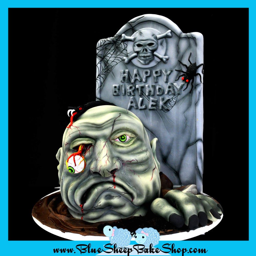 Magnificent Zombie Birthday Cake Blue Sheep Bake Shop Personalised Birthday Cards Veneteletsinfo