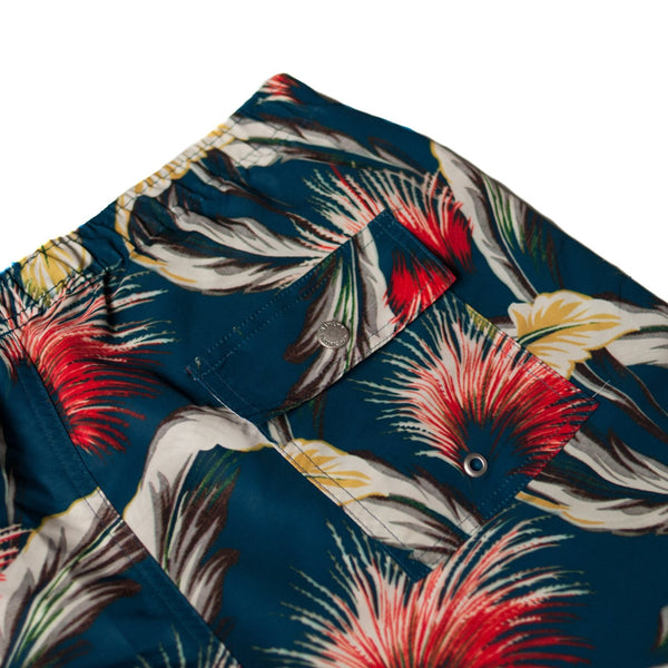 blue tropical palms swim trunk