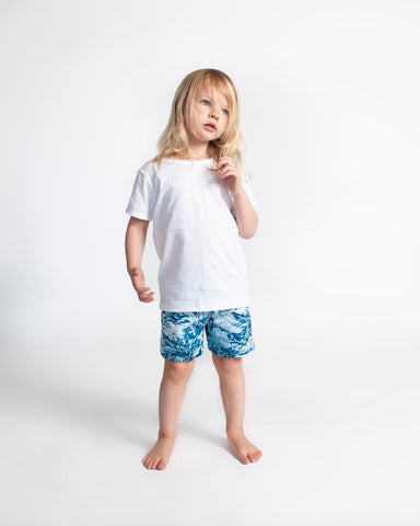 navy hawaii kids swim trunk