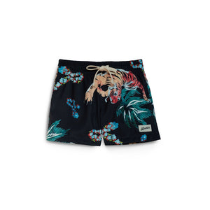 black hawaiian tiger kids swim trunk