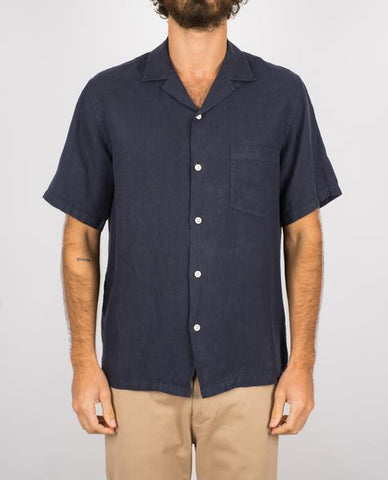 linen camp collar - navy