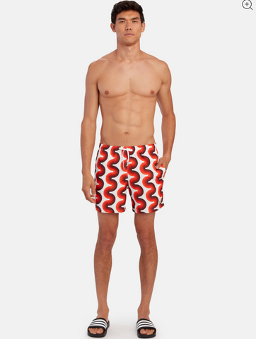 orange ripple gradient wave swim trunk