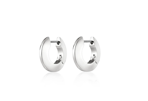 toni hinged hoops small - silver