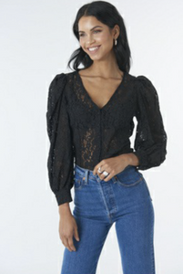 volume puffy sleeve lace blouse