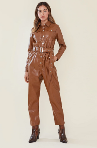 faux leather belted boilersuit