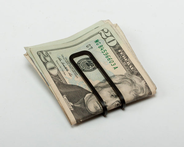 money clip - square - carbon black