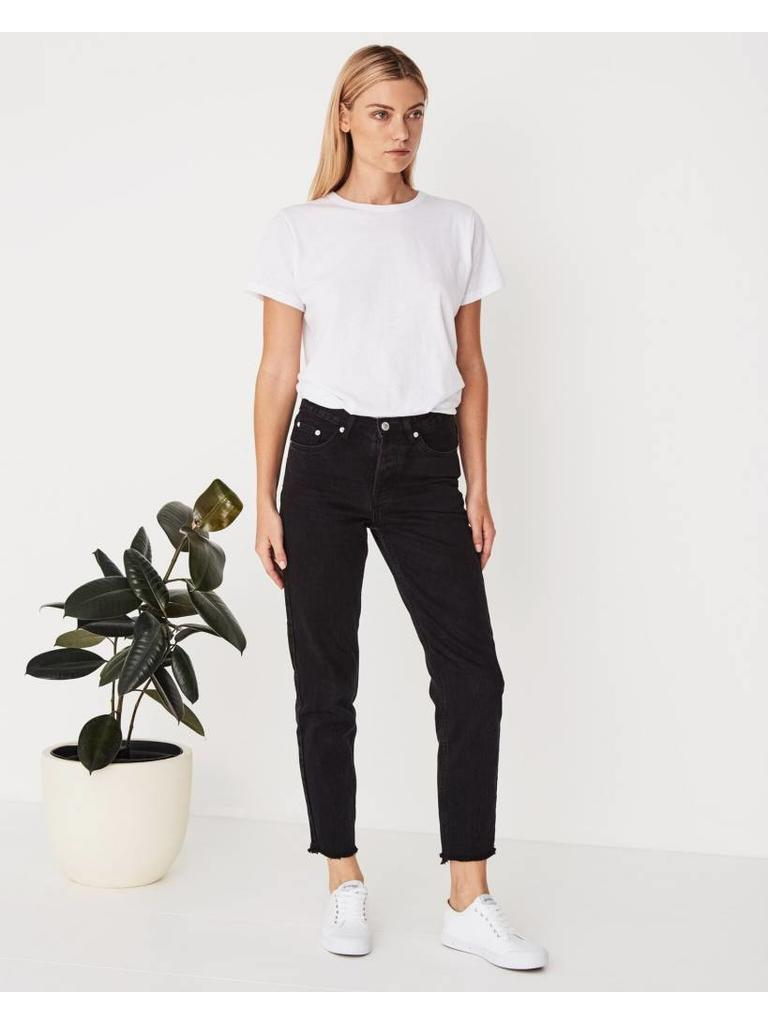 high waist rigid fray jean