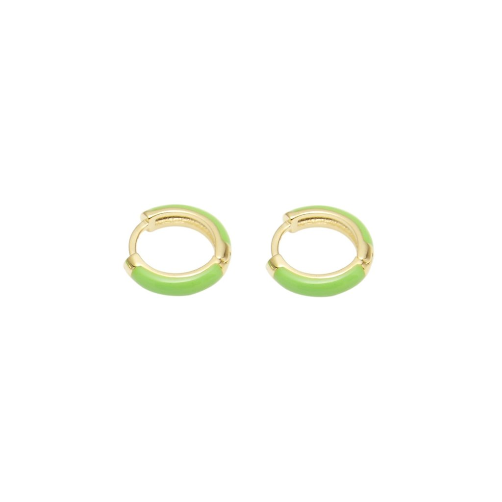 huggie hoops - neon green