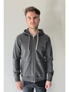 knit terry full zip hoodie