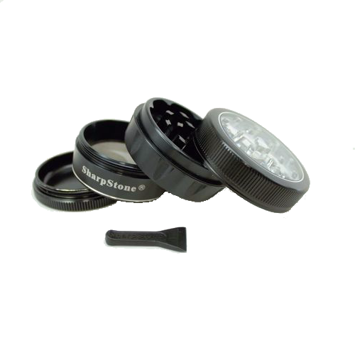 SharpStone® V2 Clear Top 4 Piece Herb Grinder - Black