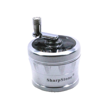 Load image into Gallery viewer, SharpStone® V2 Clear Top 4 Piece Hand Crank Grinder - Silver