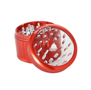 SharpStone® Clear Top 4 Piece Herb Grinder - Red