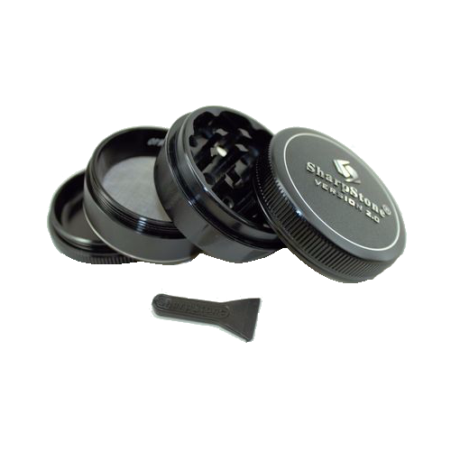 SharpStone® V2 Hard Top 4 Piece Herb Grinder - Black