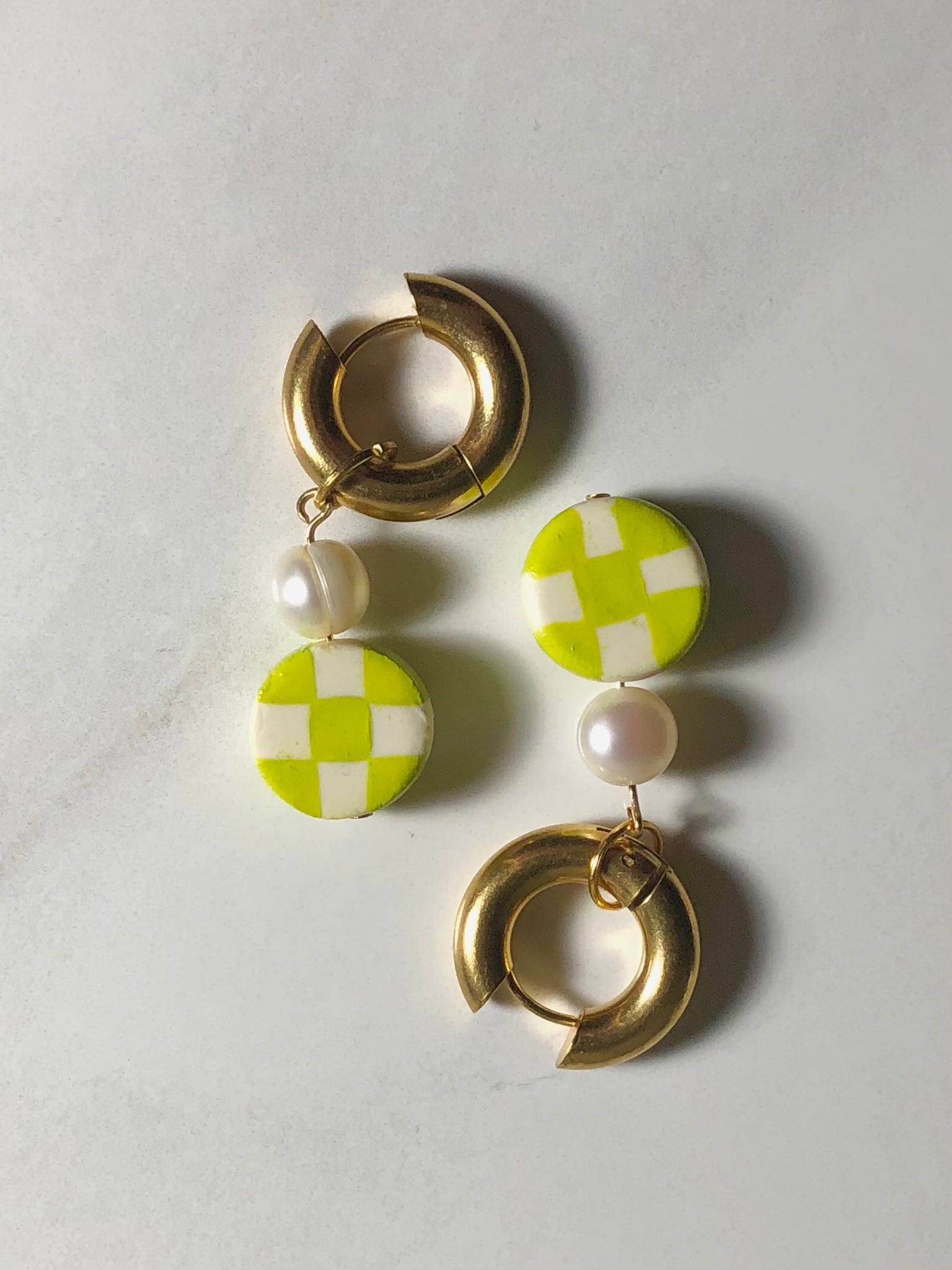 Checker Bored Hoops - Chartreuse
