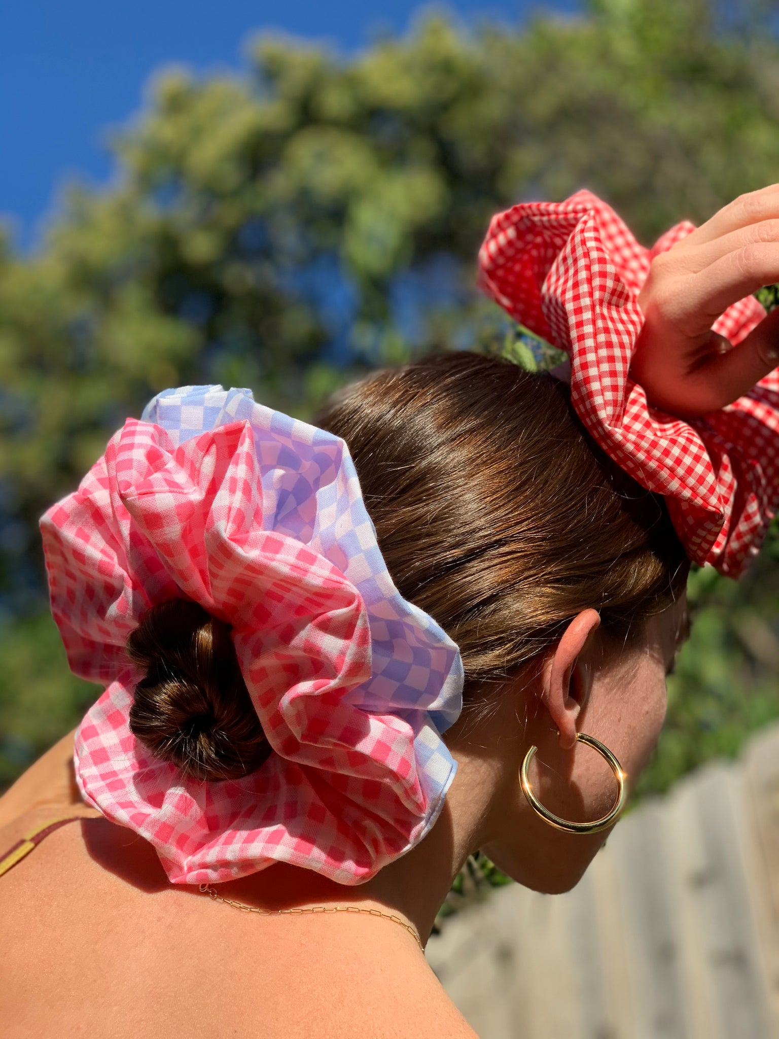 Halo Scrunchie - Red Gingham