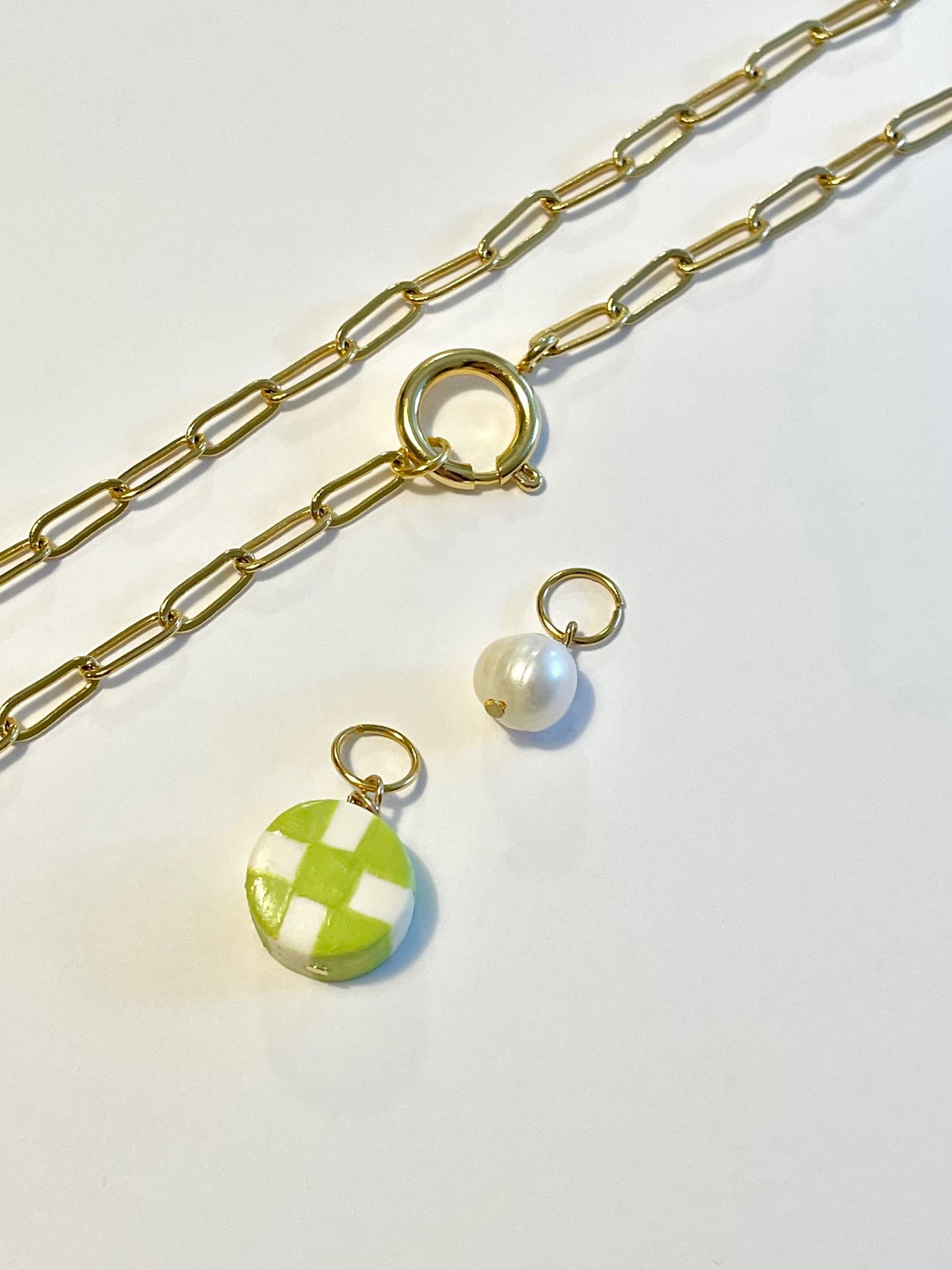 Checker Bored Necklace - Chartreuse