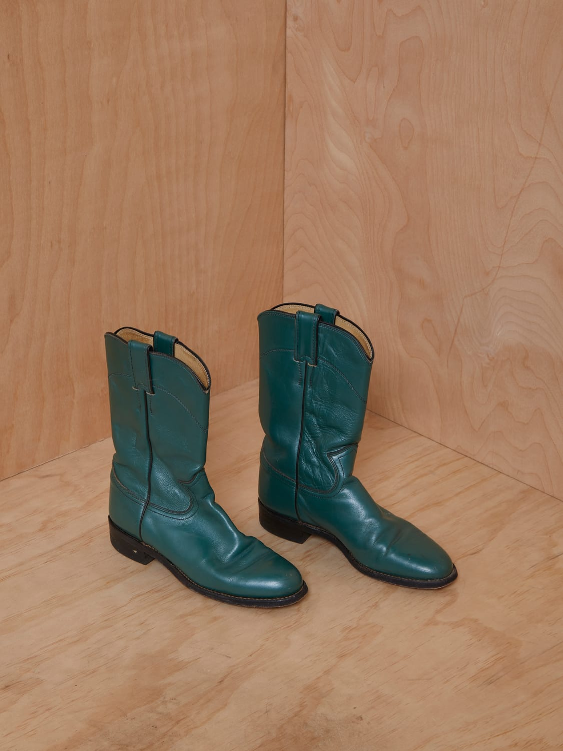 Vintage Forest Green Leather Cowboy Boots