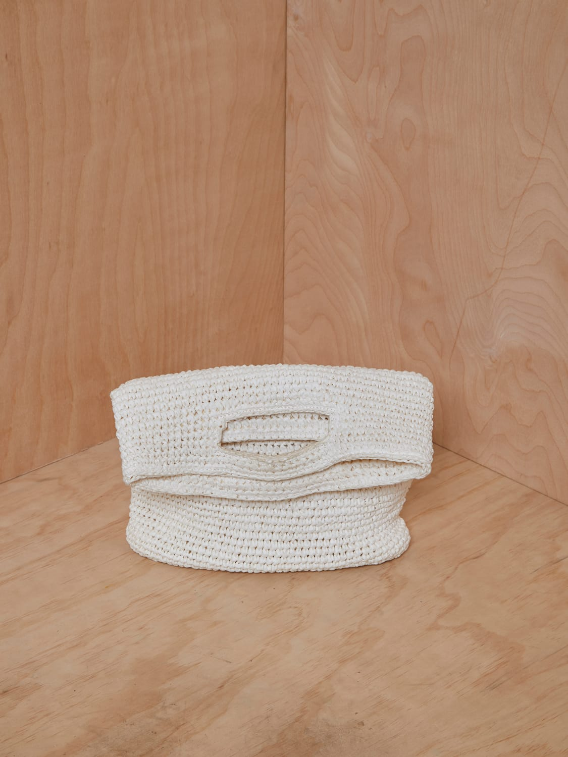 COS Foldover Raffia Bag in White