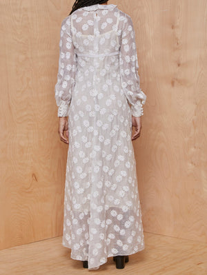 Vintage Sheer Ivory Daisy Embroidered Maxi