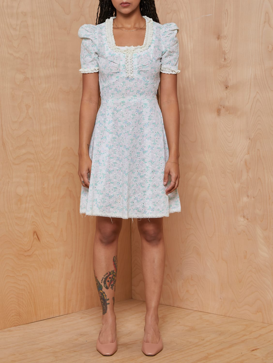 Vintage Ivory and Pastel Floral Eyelet Dolly Dress