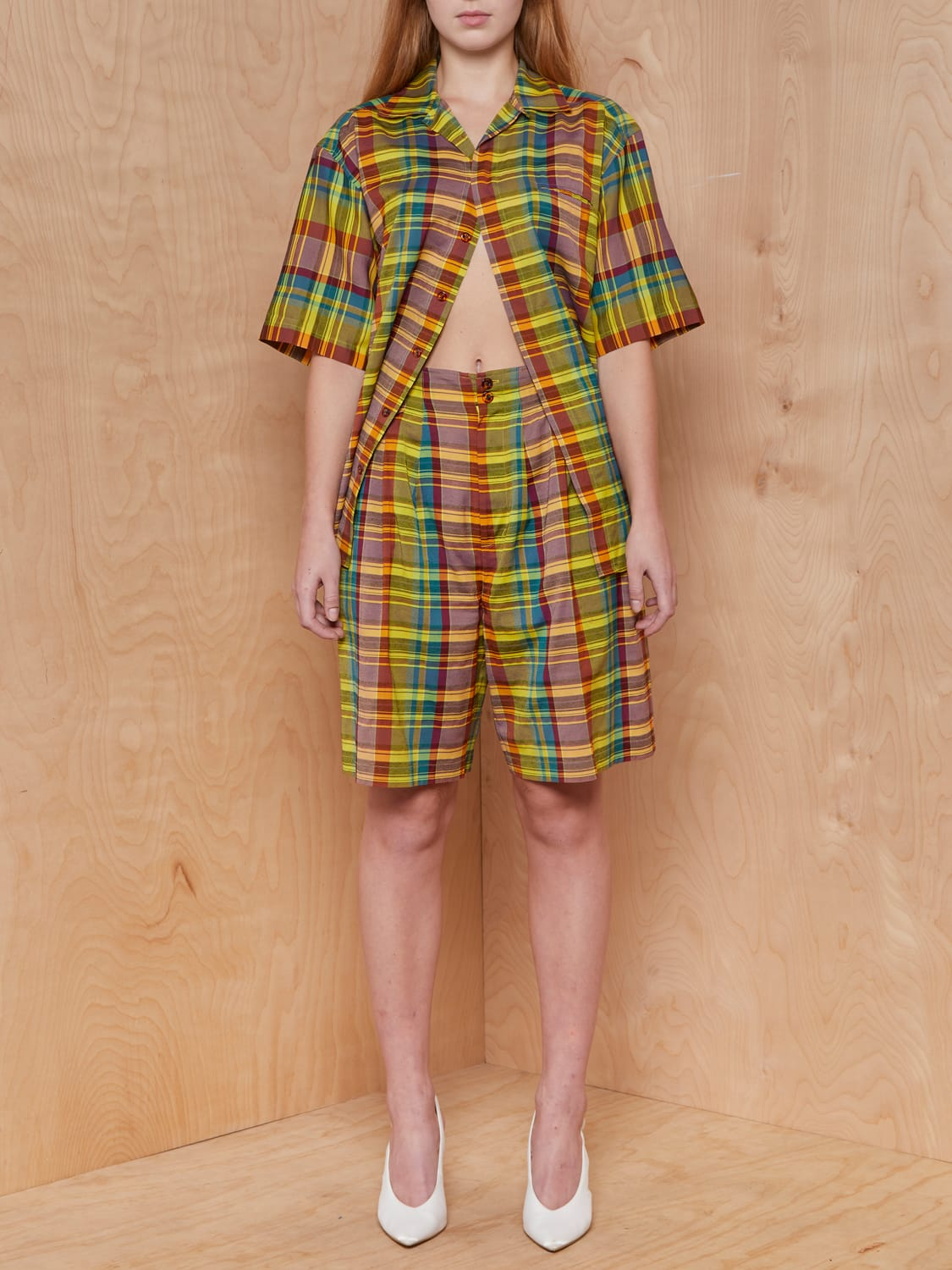Vintage Primary Color Plaid Short Set