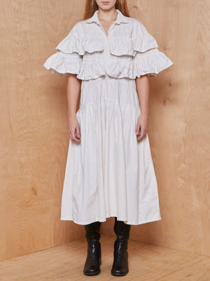 Vintage White Tiered Ruffle Prairie Dress