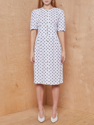 Vintage Black and White Polka Dot Button Up Dress