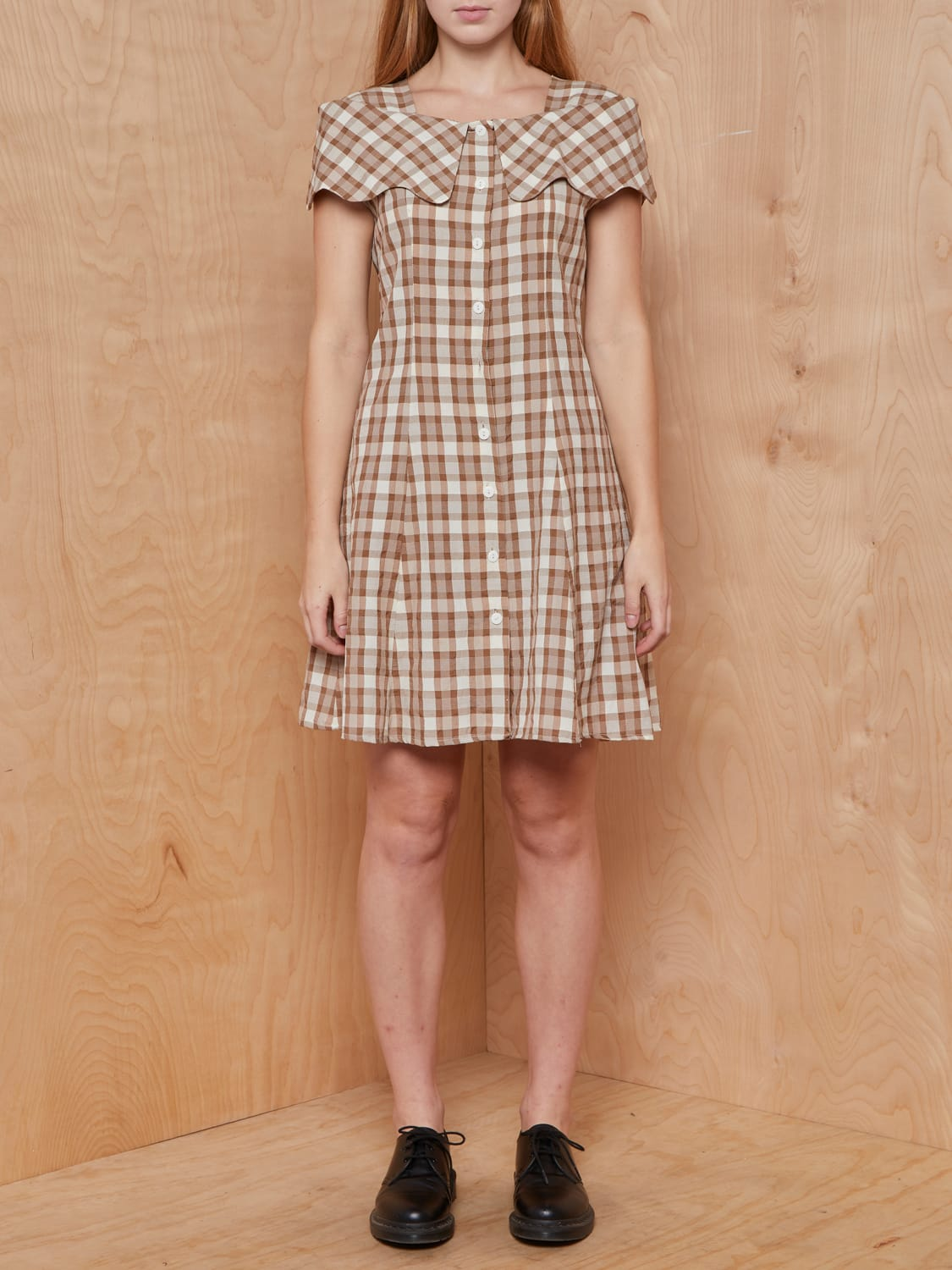 Vintage Cream and Brown Seersucker Gingham Dress with Tie Back