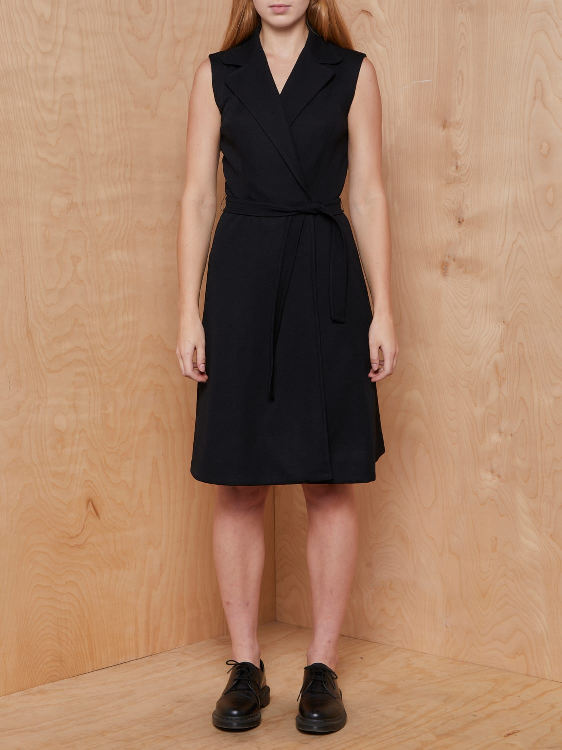 Vintage Black Textured Dress with Tie Wrap