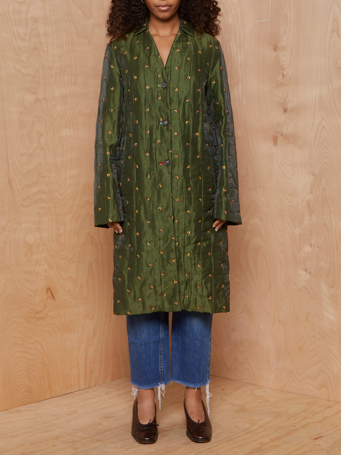 Vintage Irridescent Green Coat with Autumnal Embroidery
