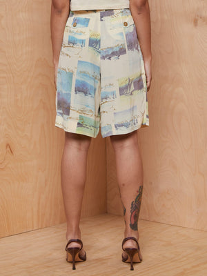 Vintage Printed Cream Bermuda Shorts