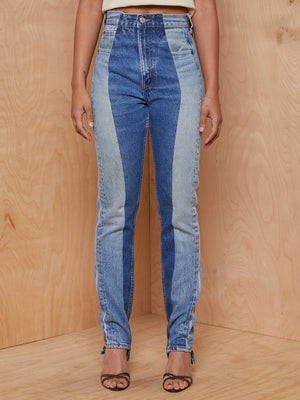 Vintage Dual Tone Denim High-waisted Jeans