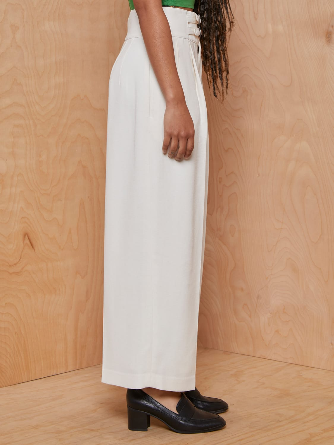 Club Monaco Cream Wide Leg Pant