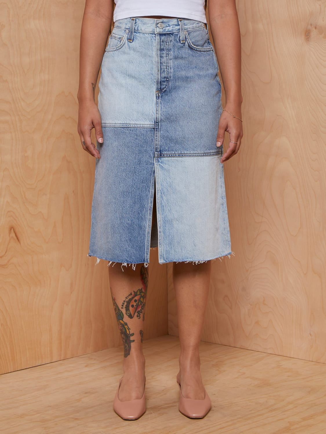 Agolde Two-Tone Denim Skirt