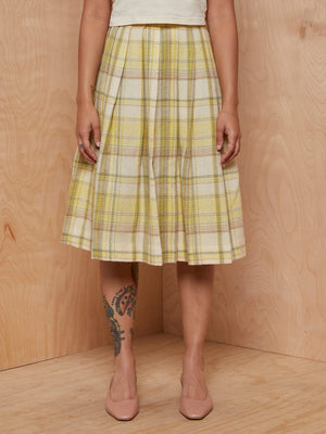 Vintage Yellow Plaid Wool Skirt