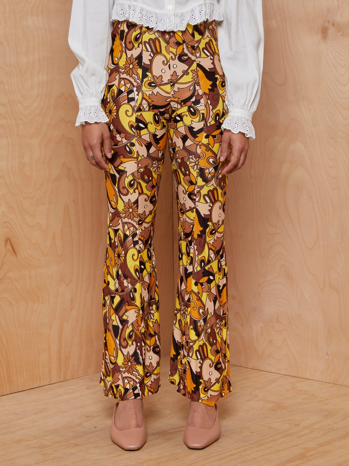 Vintage Yellow and Brown Psychedlic Flares