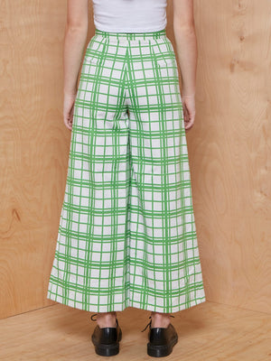 Vintage Ivory and Green Plaid Bell Bottoms