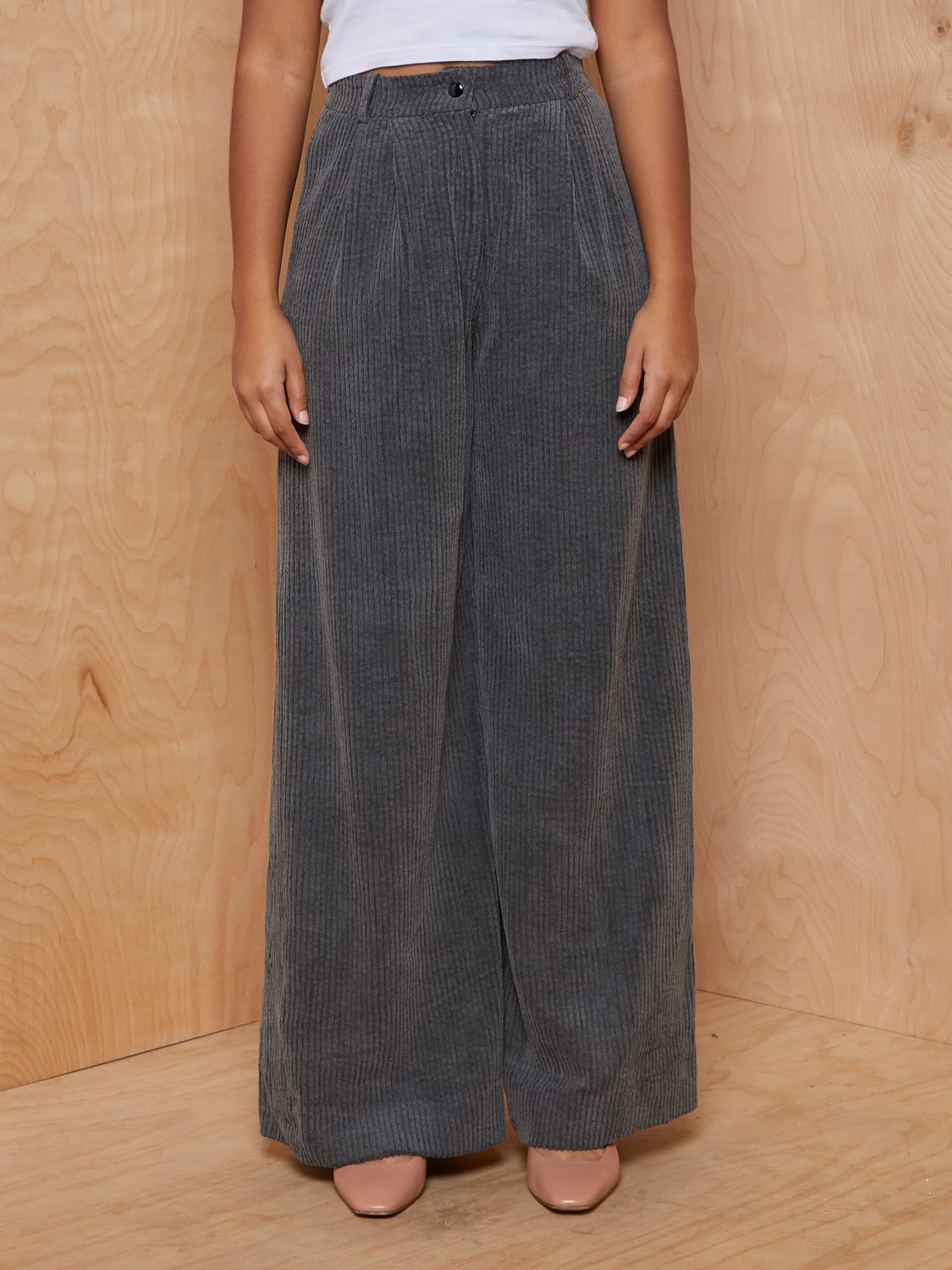 Vintage Charcoal Corduroy Wide Leg Pants