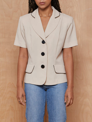 Studio I Beige Shortsleeve Blazer with Collar Detail