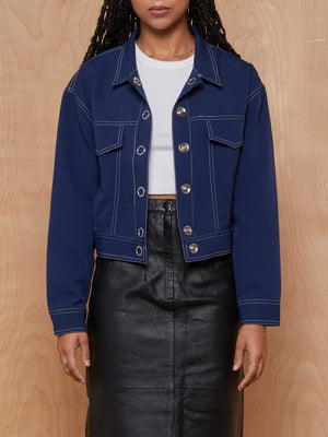 Pomelo Navy Contrast Stitching Cropped Jacket