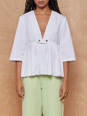 Suno White Pleated Top