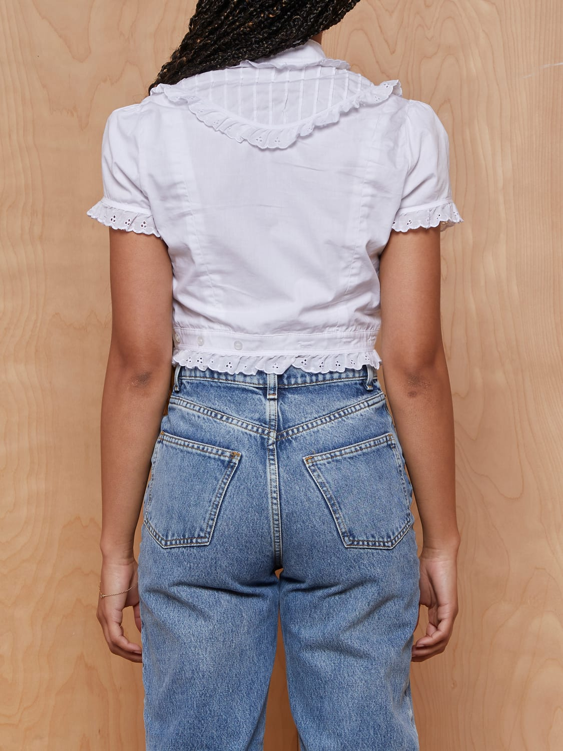 ARE YOU AM I White Bibbed Crop Top with Eyelet Trim